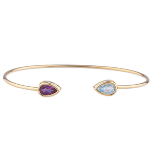 Aquamarine & Amethyst Pear Bezel Bangle Bracelet 14Kt Yellow Gold Plated Over .925 Sterling Silver