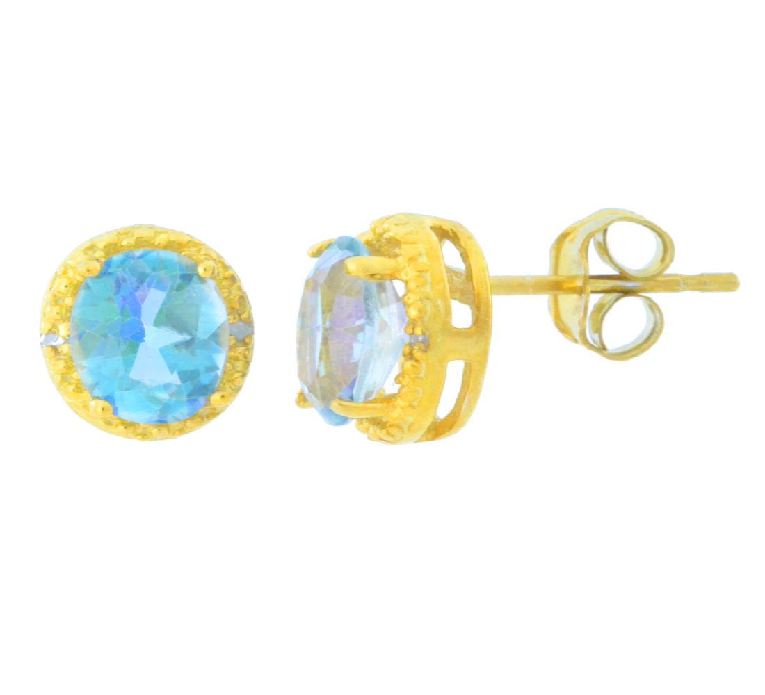 2 Ct Genuine Blue Mystic Topaz & Diamond Round Stud Earrings 14Kt Yellow Gold Plated