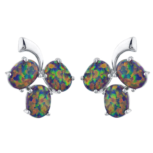 Black Opal Oval Design Stud Earrings .925 Sterling Silver