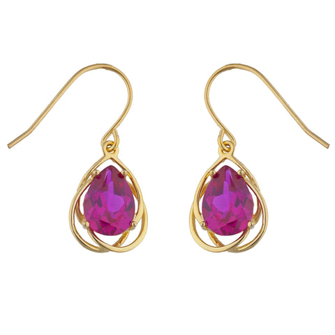 14Kt Gold 4 Ct Created Ruby Pear Teardrop Design Dangle Earrings