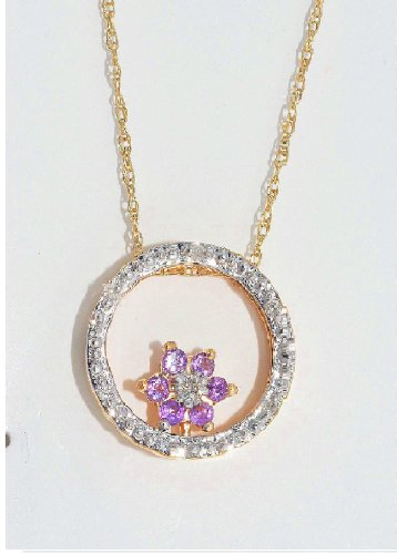 Amethyst & Diamond Round Pendant 14Kt Yellow Gold Plated