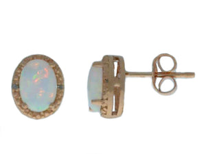 Opal & Diamond Oval Stud Earrings 14Kt Rose Gold Plated