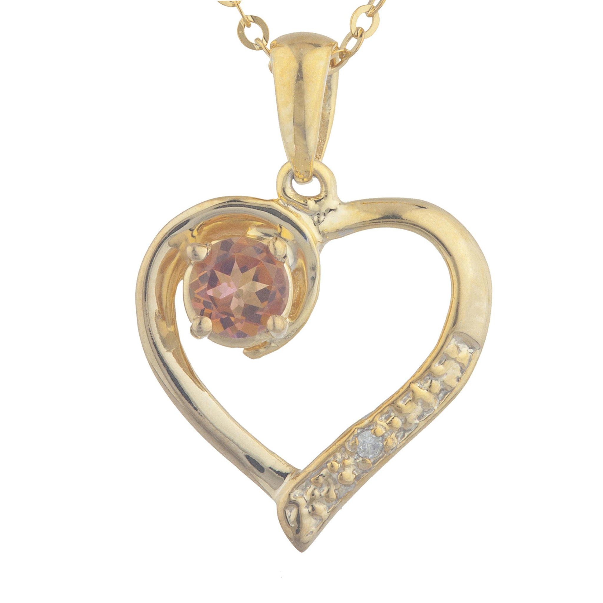 14Kt Yellow Gold Plated Natural Ecstasy Mystic Topaz & Diamond Heart Pendant