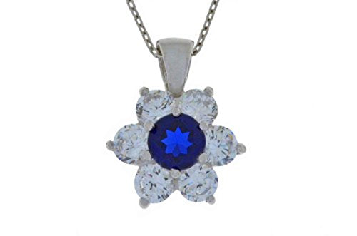 1.5 Ct Blue Sapphire & White Topaz Pendant .925 Sterling Silver Rhodium Finish