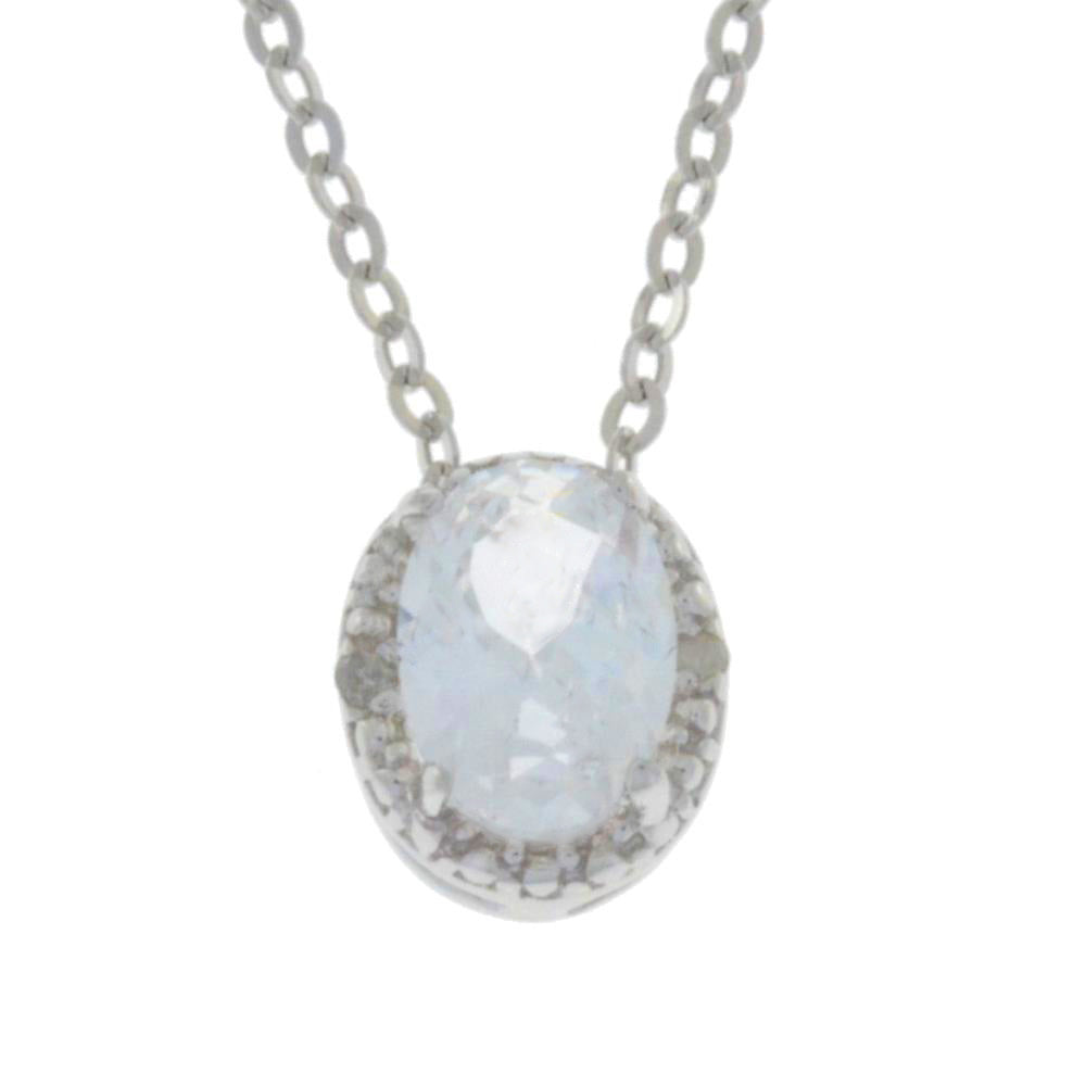 1 Ct White Topaz & Diamond Oval Pendant .925 Sterling Silver