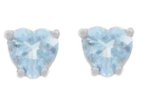 14Kt White Gold Genuine Aquamarine Heart Stud Earrings