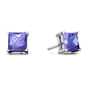 2 Ct Tanzanite Princess Cut Stud Earrings 14Kt White Gold