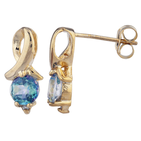 14Kt Yellow Gold Plated Natural Blue Mystic Topaz & Diamond Round Design Stud Earrings