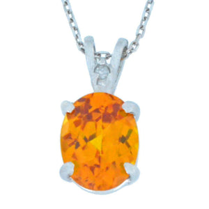 2.5 Ct Citrine & Diamond Oval Pendant .925 Sterling Silver Rhodium Finish