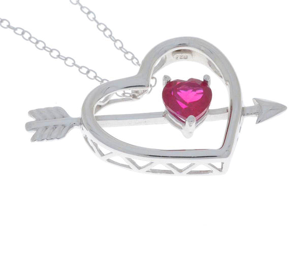 Created Ruby Heart Bow & Arrow Pendant .925 Sterling Silver Rhodium Finish