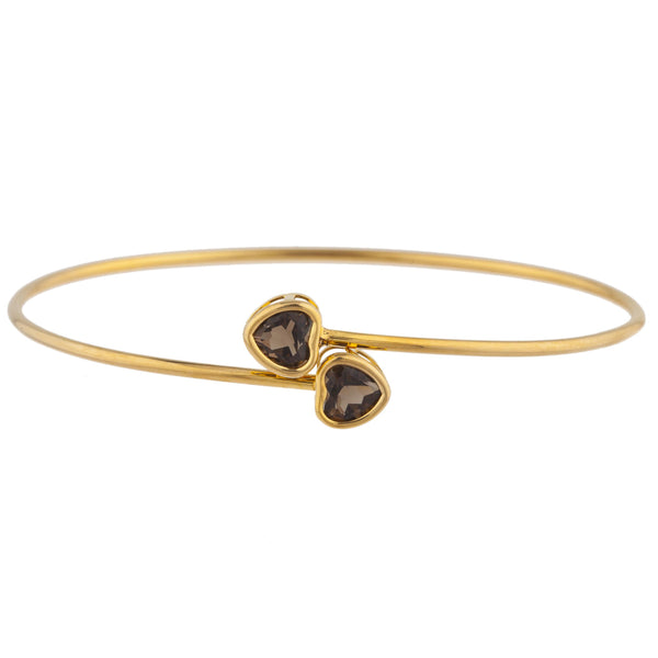 14Kt Yellow Gold Plated Genuine Smoky Topaz Heart Bezel Bangle Bracelet