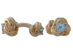 2.5 Ct Natural Aquamarine Knot Cufflinks 14Kt Rose Gold Plated Over Sterling Silver