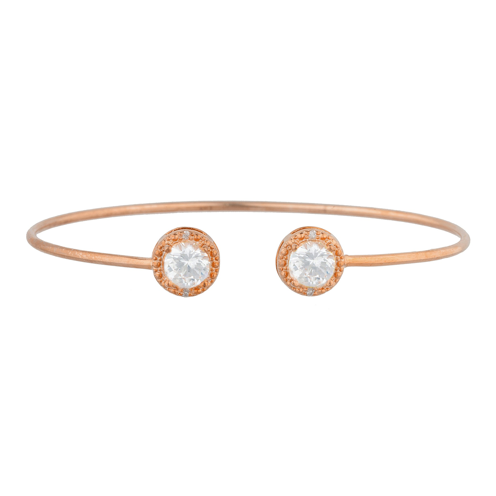 14Kt Rose Gold Plated White Sapphire & Diamond Round Bangle Bracelet