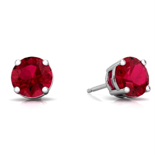 2 Ct Ruby Round Stud Earrings 14Kt White Gold