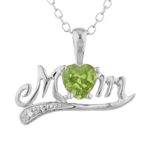 0.50 Ct Peridot & Diamond Heart Mom Pendant .925 Sterling Silver