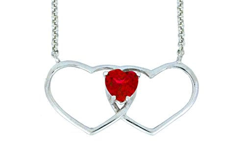 1 Ct Garnet Double Heart Pendant .925 Sterling Silver Rhodium Finish