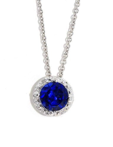 1 Ct Blue Sapphire Round Diamond Pendant .925 Sterling Silver Rhodium Finish