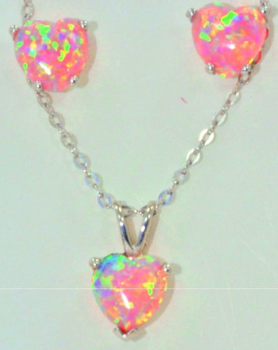 Pink Opal Heart Stud Earrings & Pendant .925 Sterling Silver Rhodium Finish