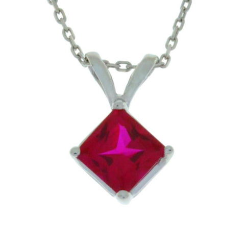 14Kt Gold Created Ruby Princess Cut Pendant Necklace