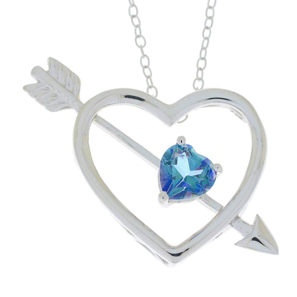 Genuine Blue Mystic Topaz Heart Bow & Arrow Pendant .925 Sterling Silver Rhodium Finish