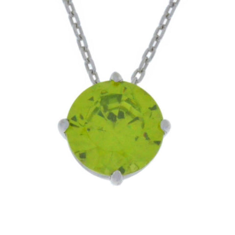 14Kt Gold Peridot Round Pendant Necklace