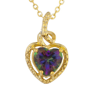 14Kt Gold Natural Mystic Topaz Heart Design Pendant Necklace