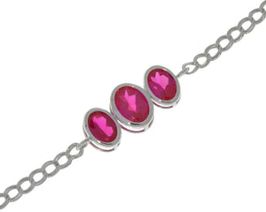 3.5 Ct Ruby Oval Bezel Bracelet .925 Sterling Silver Rhodium Finish