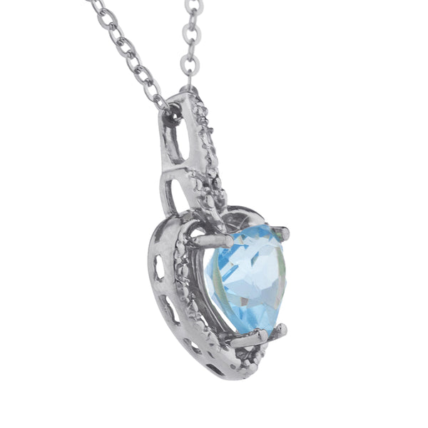 1.5 Ct Blue Topaz Heart Design Pendant .925 Sterling Silver