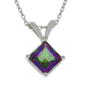 14Kt Gold Natural Mystic Topaz Princess Cut Pendant Necklace