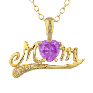 14Kt Yellow Gold Plated Pink Sapphire & Diamond Heart Mom Pendant