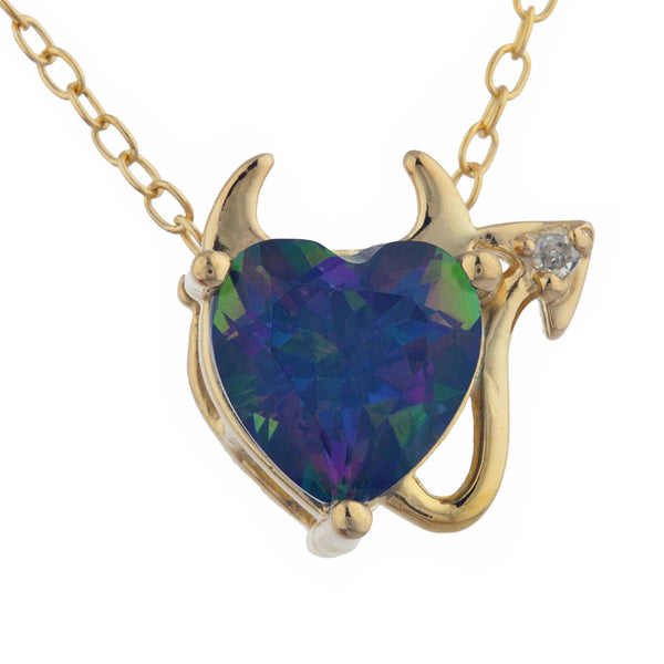 1.5 Ct Natural Mystic Topaz & Diamond Devil Heart Pendant 14Kt Yellow Gold Silver