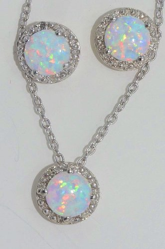 Opal Round Diamond Stud Earrings and Pendant .925 Sterling Silver Rhodium Finish