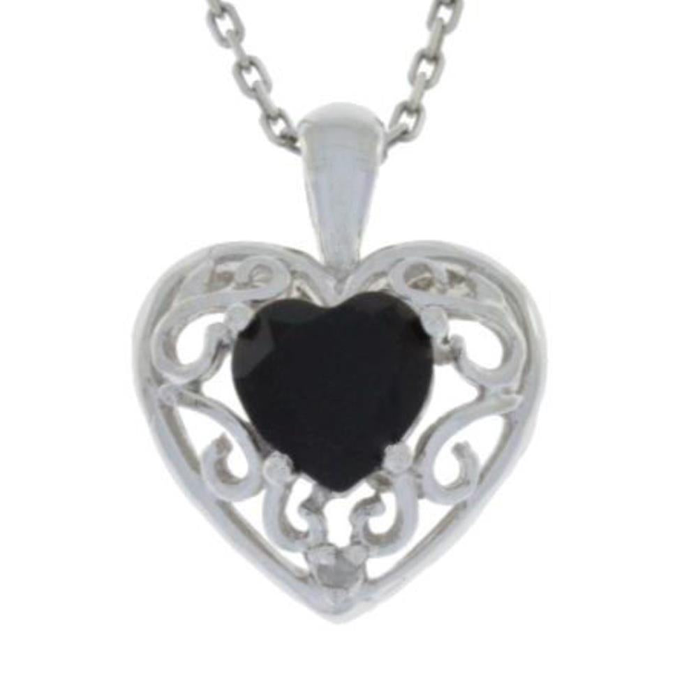 1 Ct Black Onyx & Diamond Heart Love Engraved Pendant .925 Sterling Silver Rhodium Finish