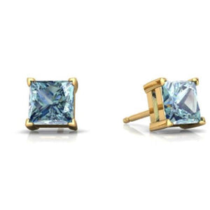 14Kt Yellow Gold Aquamarine Princess Cut Stud Earrings