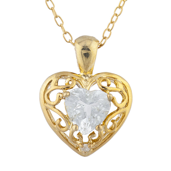 14Kt Yellow Gold Plated White Sapphire & Diamond Love Design Heart Pendant