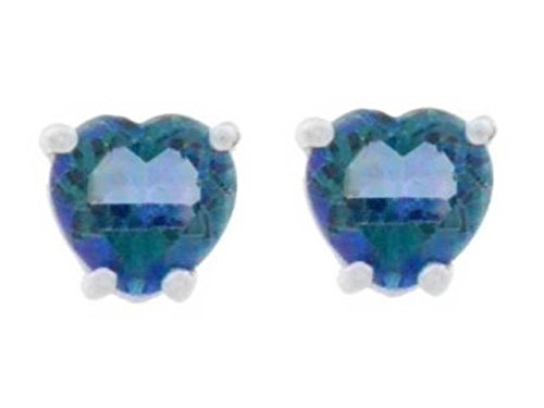 2 Ct Blue Mystic Topaz Heart Stud Earrings 14Kt White Gold