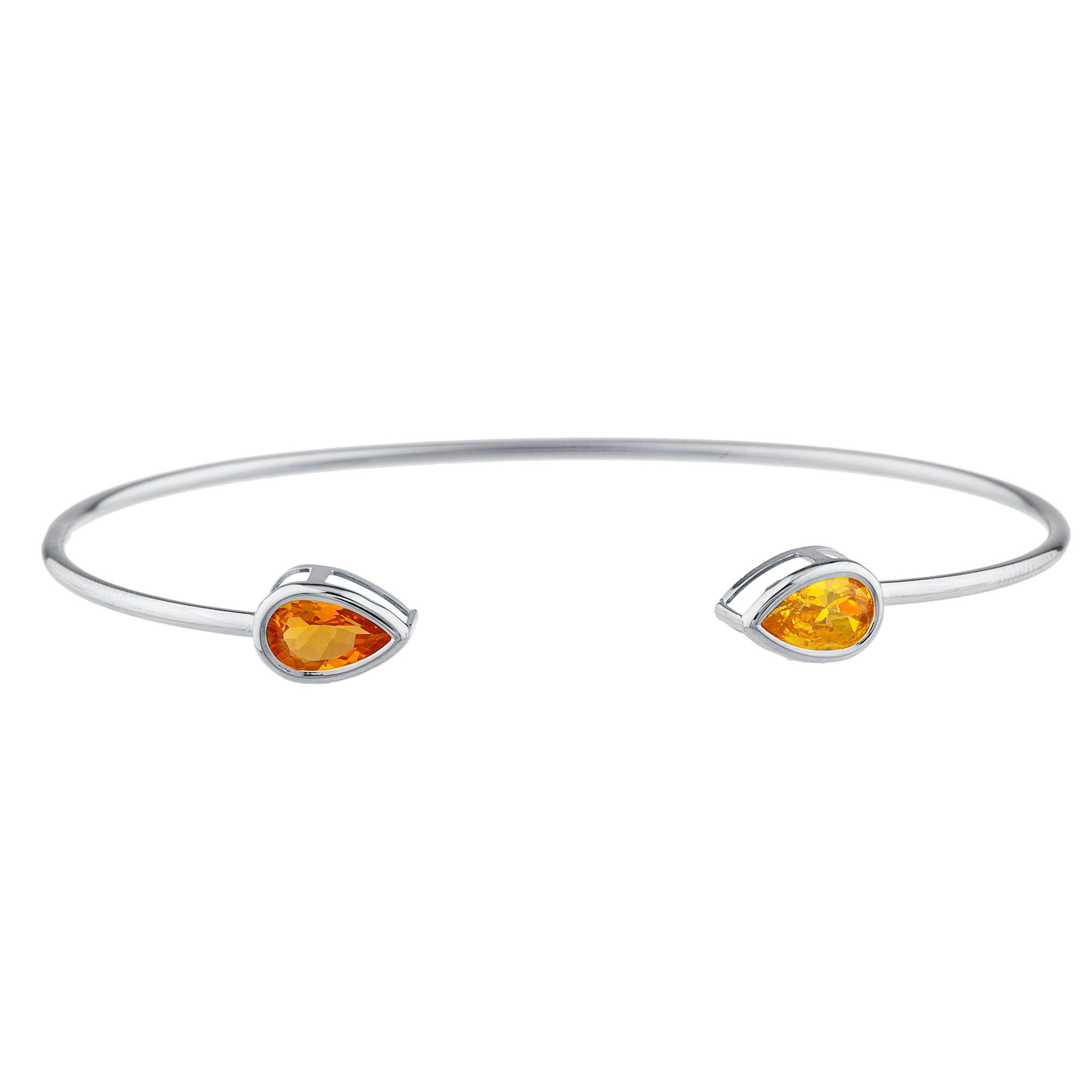 Orange & Yellow Citrine Pear Bezel Bangle Bracelet .925 Sterling Silver