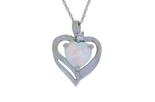 Opal & White Sapphire Heart Pendant .925 Sterling Silver Rhodium Finish