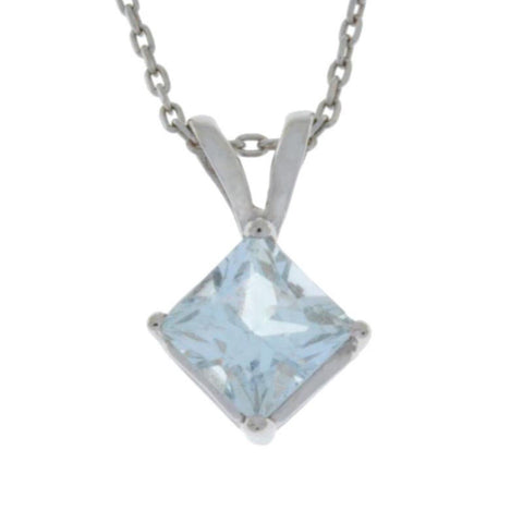 14Kt Gold Genuine Aquamarine Princess Cut Pendant Necklace
