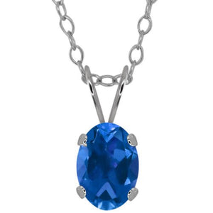1.5 Ct London Blue Topaz Oval Pendant .925 Sterling Silver Rhodium Finish