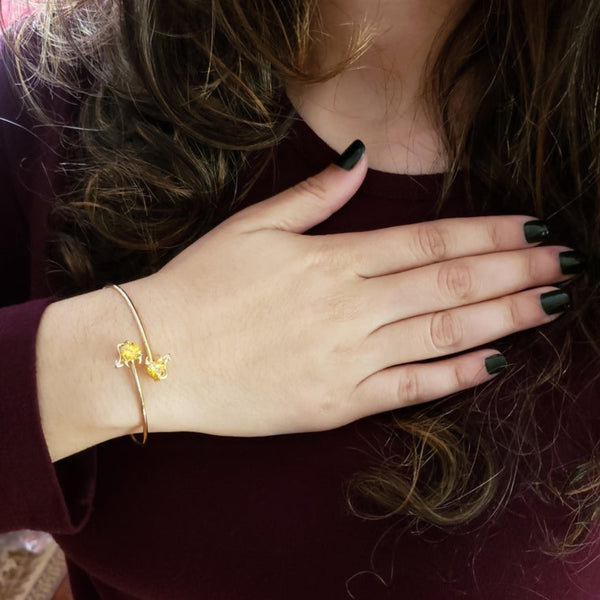 14Kt Gold Yellow Citrine & Diamond Devil Heart Bangle Bracelet