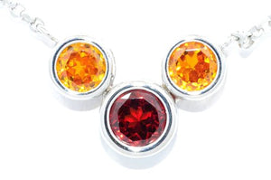 2 Ct Garnet & Citrine Round Bezel Pendant .925 Sterling Silver Rhodium Finish