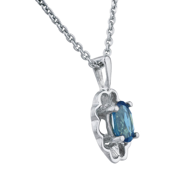 0.50 Ct London Blue Topaz Oval Design Pendant .925 Sterling Silver