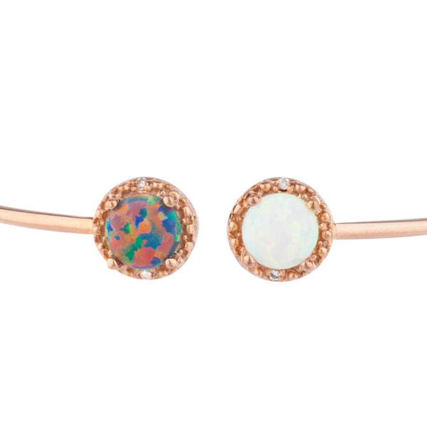 Black Opal & White Opal Diamond Bangle Round Bracelet 14Kt Rose Gold Plated Over .925 Sterling Silver