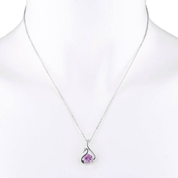 Pink Sapphire & Diamond Swan Pendant .925 Sterling Silver