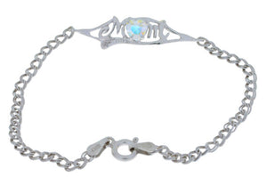0.50 Ct Mercury Mist & Diamond Heart Mom Bracelet .925 Sterling Silver