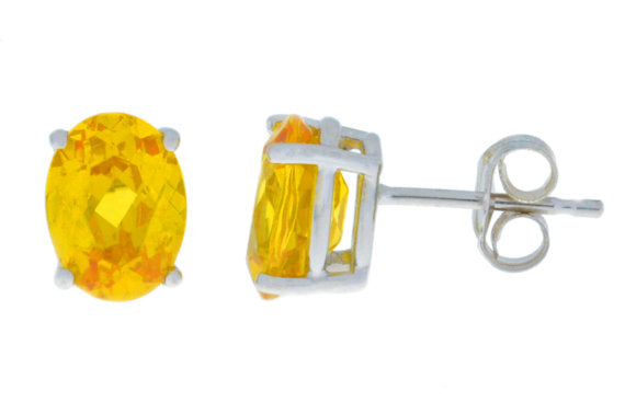 14Kt White Gold Citrine Oval Stud Earrings
