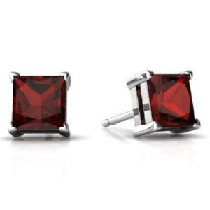 14Kt White Gold Garnet Princess Cut Stud Earrings