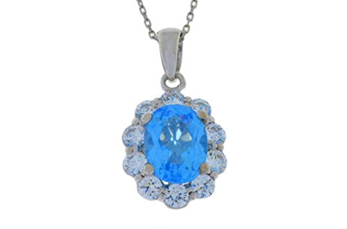 4 Ct Blue Topaz & White Topaz Oval Pendant .925 Sterling Silver Rhodium Finish