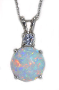 Opal & Zirconia Round Pendant .925 Sterling Silver Rhodium Finish